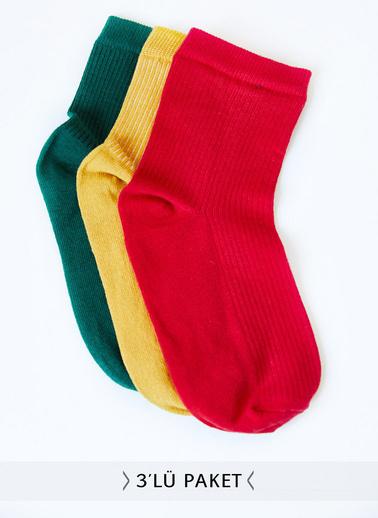 XHAN 3'Lü Örme Çorap 0Yxk9-43447-10 Renkli